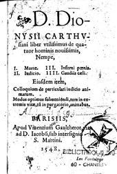 Liber utilissimus De Quatuor Hominis novissimis Nempe...: Ejusdem Colloquium de particulari Judicio animarum