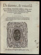De summo, & vniuersali mortalium omnium iudicio: deq[ue] eiusdem iudicii prodromis, & peristasibus: disputatio secunda ...