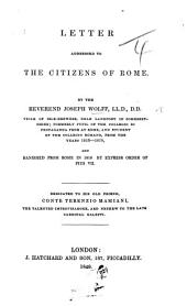 Letter addressed to the Citizens of Rome