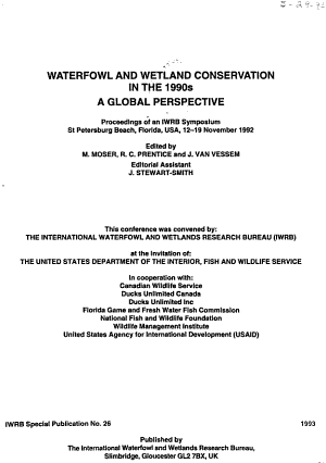Waterfowl and Wetland Conservation in the 1990s PDF