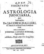 Diss. de astrologia iudiciaria