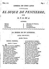 Comedia en cinco actos titulada El Duque de Pentiebre