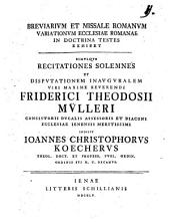 Breviarium et missale romanum variationum ecclesiae romanae in doctrina testes exhibet Jo. Christo. Koecher
