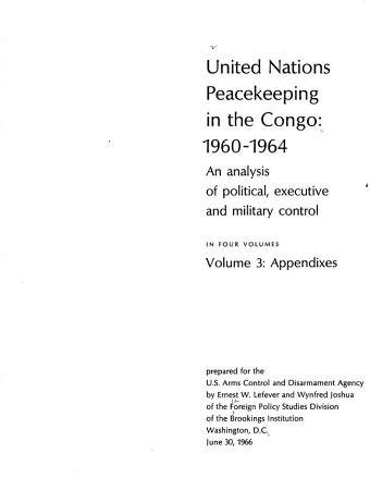 United Nations Peacekeeping in the Congo  1960 1964  Appendices PDF