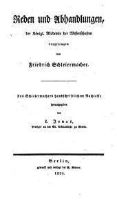 Sämmtliche Werke: Zur Philosophie ; 3, Literarischer Nachlaß ; 1, Reden und Abhandlungen, Band 3,Ausgabe 3
