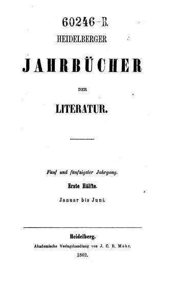Heidelbergische Jahrb  cher der Literatur PDF