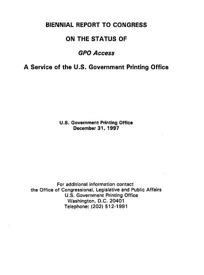 Biennial Report to Congress on the Status of GPO Access PDF