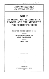 Notes on Signal and Illuminating Devices and the Apparatus for Projecting Them: From the French Edition of 1917
