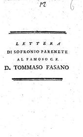 Lettera di Sofronio Parenete al famoso C.F. D. Tommaso Fasano