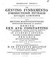 Dissertatio iuridica de genuino fundamento iurisdictionis feudalis eiusque limitibus