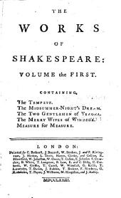 The works of Shakespeare: Collated with the oldest copies, and corrected, Volume 1