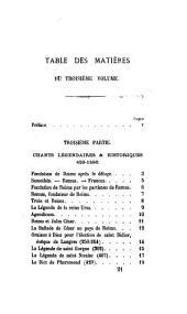 Romancero de Champagne: 3. ptie. Chants légendares et historiques, 420-1550