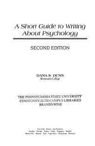 A Short Guide to Writing about Psychology PDF