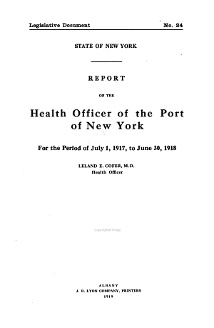 Report of the Health Officer of the Port of New York PDF