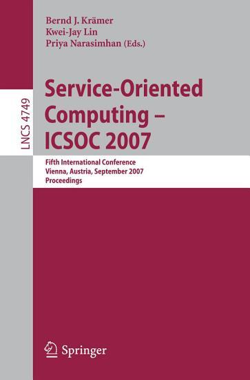Service Oriented Computing   ICSOC 2007 PDF