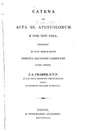Catena in Acta SS. Apostolorum e Cod. Nov. Coll