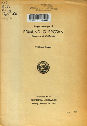 Budget Message of     Governor of the State of California Delivered to the Senate and Assembly PDF