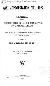 Naval Appropriation Bill, 1922: Supplement to Hearings Before Subcommittee of House Committee on Appropriations ... in Charge of Naval Appropriation Bill for 1922. Sixty-sixth Congress, Third Session. Aviation