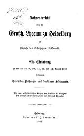 Jahresbericht über das Großh. Lyceum zu Heidelberg: am Schlusse d. Schuljahres .... 1865/66 (1866)