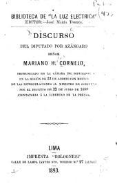 Discurso del ... Mariano H. Cornejo ...