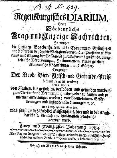 Regensburgisches Diarium oder w  chentliche Frag  und Anzeige Nachrichten PDF