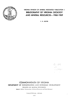 Virginia Division of Mineral Resources Publication
