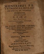Meditamentum De Muneribus Patrimonialibus: Et In Specie De Munere inhospitationis