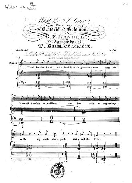 What Tho I Trace From The Oratorio Of Solomon By G F Handel Arranged By T Greatorex Ent Sta Hall