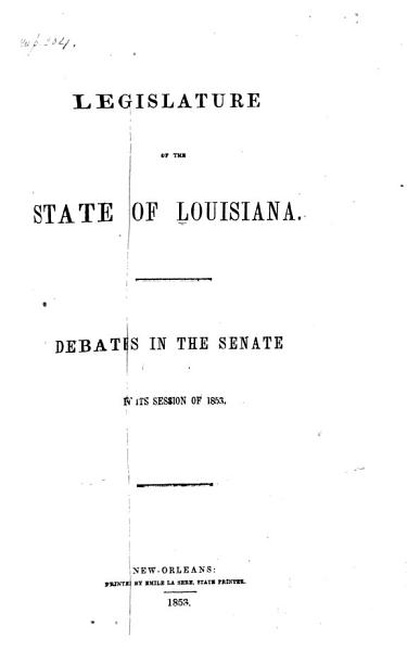 Download Debates in the Senate in Its Session of 1853  1854   Book