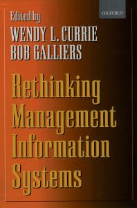 Rethinking Management Information Systems Book