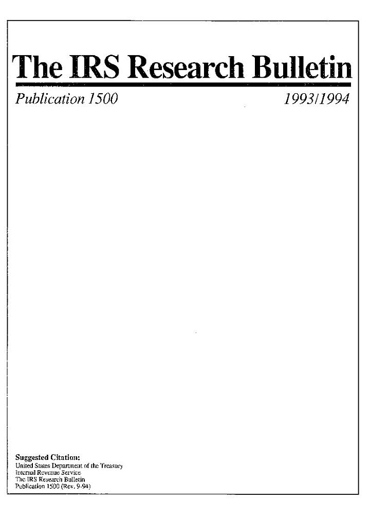 The IRS Research Bulletin