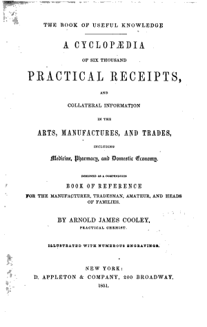 A Cyclopaedia of Six Thousand Practical Receipts  and Collateral Information in the Arts  Manufactures  and Trades