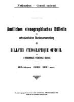 Amtliches stenographisches Bulletin der Bundesversammlung  Bulletin stenographique officiel de l Assembl  e f  d  rale PDF