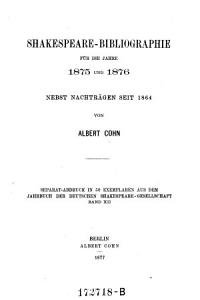 Shakespeare Bibliographie f  r die Jahre 1875 und 1876  Nebst Nachtr  seit 1864 PDF