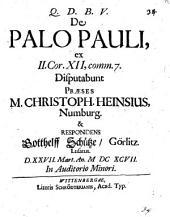 De palo Pauli, ex 2 Cor. XII,7. disp
