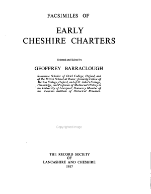 Facsimiles Of Early Cheshire Charters