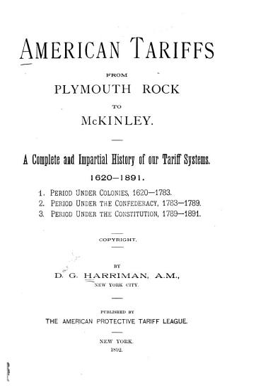 American Tariffs from Plymouth Rock to McKinley PDF