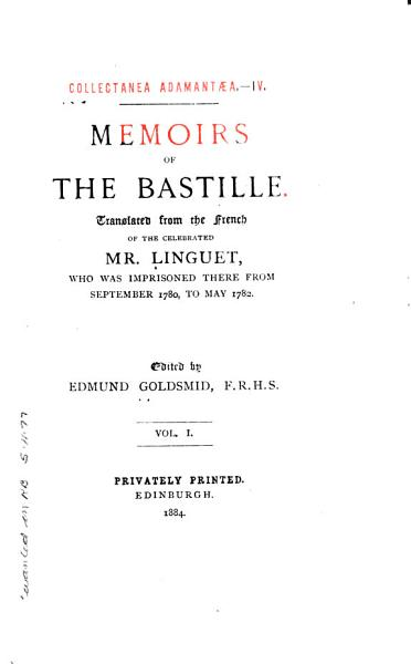 Download Memoirs of the Bastille Book