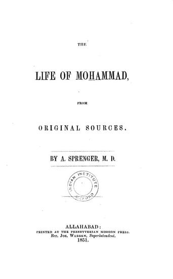 The Life of Mohammad  from Original Sources PDF