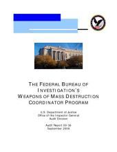 Federal Bureau of Investigation's Weapons of Mass Destruction Coordinator Program