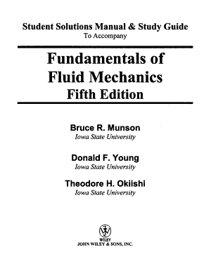 Student Solutions Manual and Study Guide to Accompany Fundamentals of Fluid Mechanics  5th Edition PDF