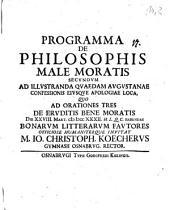 De philosophis male moratis: Progr. 2