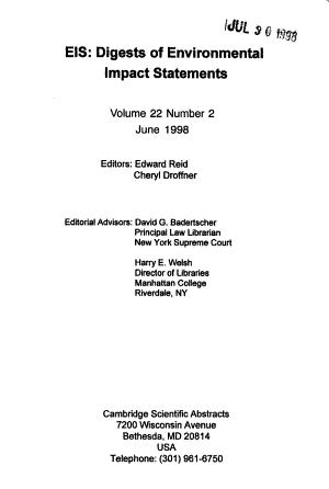 EIS  Digests of Environmental Impact Statements PDF