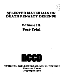 Selected Materials on Death Penalty Defense