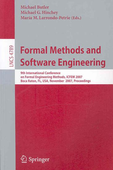Formal Methods and Software Engineering PDF