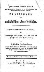 Hieronymus David Gaub's Anfangsgründe der medicinischen Krankheitslehre