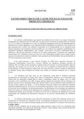 Lignes directrices de l'OCDE pour les essais de produits chimiques, Section 2: Effets sur les systèmes biologiques Essai n° 225: Essai de toxicité sur Lumbriculus dans un système eau-sédiment chargé