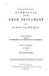 Kritisch-exegetischer Kommentar über das Neue Testament: Band 9