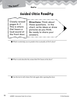 Owl at Home Close Reading and Text Dependent Questions PDF