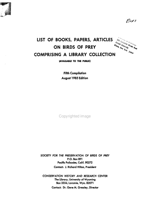 List of Books, Papers, Articles on Birds of Prey